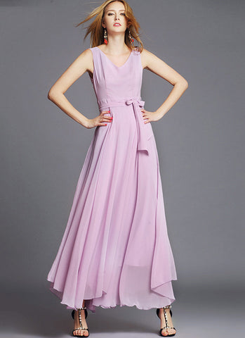 Sleeveless V Neck Violet Chiffon Maxi Dress with Pleated Waist Yoke RM544