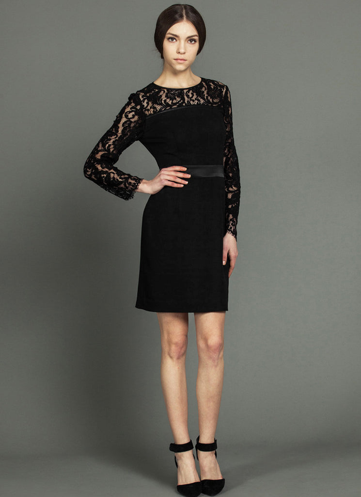 Long Sleeved Black Lace Sheath Mini Dress with Satin Waist