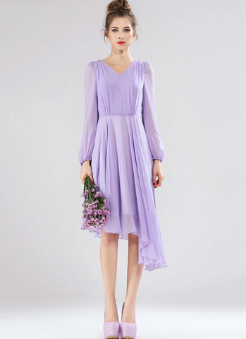 Long Sleeved Thistle Hi Low Hem Dress (Mixi Dress) RM545
