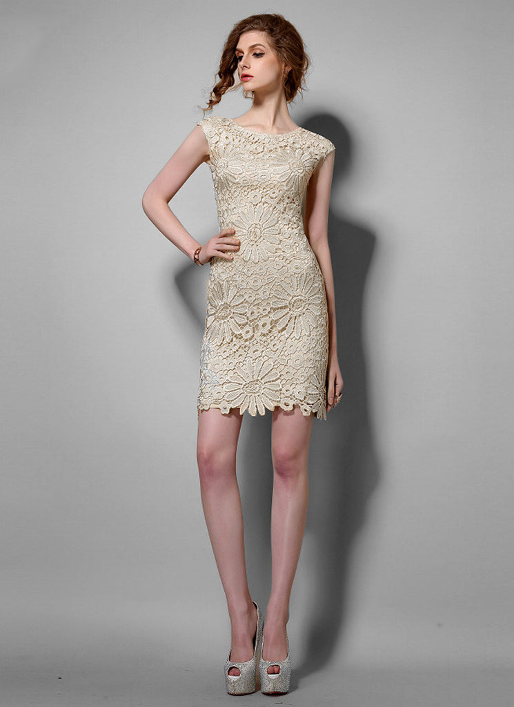 Sunflower Beige Lace Sheath Mini Dress with Floral Scalloped Hem