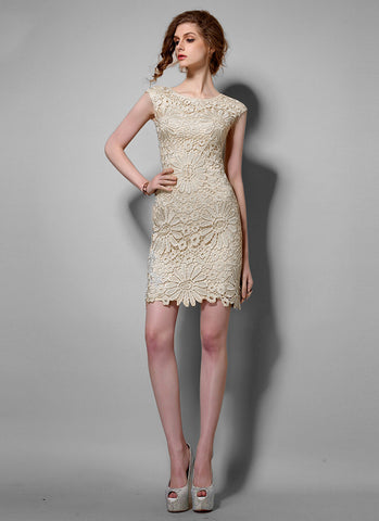 Sunflower Beige Lace Sheath Mini Dress with Floral Scalloped Hem RD613
