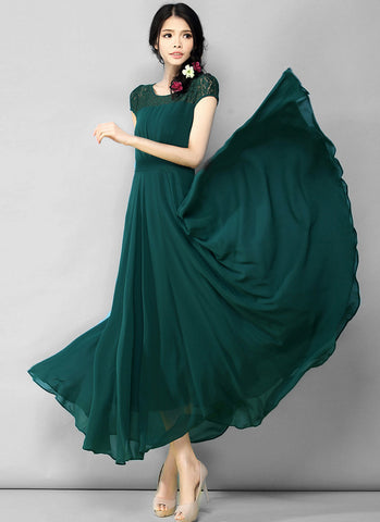 Dark Green Lace Chiffon Maxi Dress with Cap Sleeves and Narrow Waist Yoke RM565