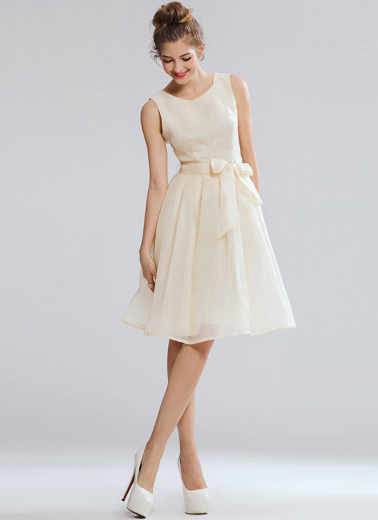 Light Champagne Mini Dress with Bow Sash