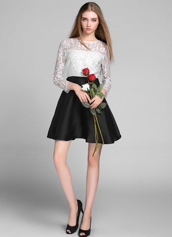 Long Sleeved Black Aline Mini Dress with White Lace Details RD643