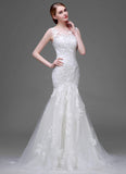 Mermaid Lace Tulle Wedding Dress with Floral Appliqué