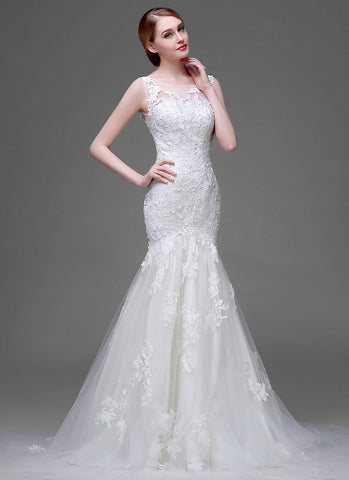 Mermaid Lace Tulle Wedding Dress with Floral Appliqué RM635