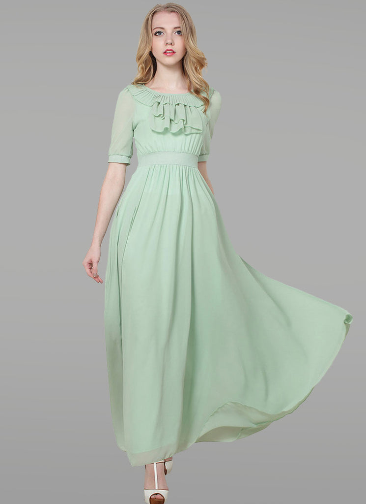 Light Mint Green Maxi Dress with Flounce and Drape Embellished Neck