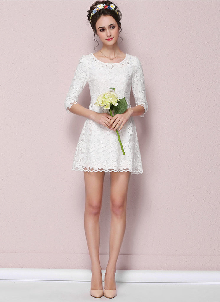 White Lace Aline Mini Dress with Scalloped Hem