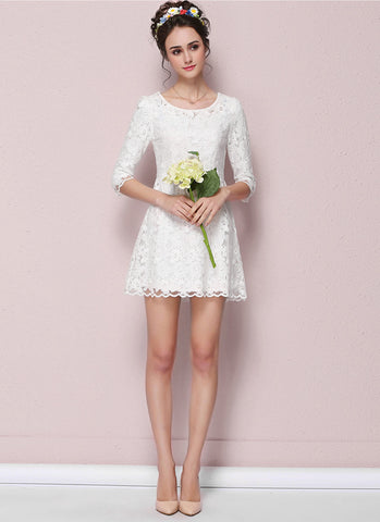 White Lace Aline Mini Dress with Scalloped Hem RD546