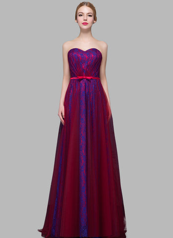 Blue Lace Evening Dress with Maroon Tulle Overlay RM630