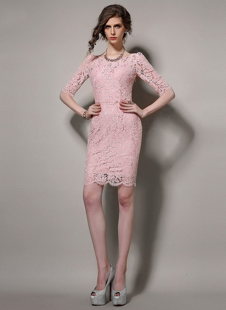 Short Sleeved Pink Lace Sheath Mini Dress with Scalloped Hem and Eyelash Details
