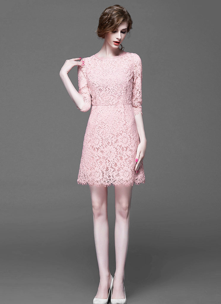 Pink Lace Aline Mini Dress with Scalloped Hem and Eyelash Details