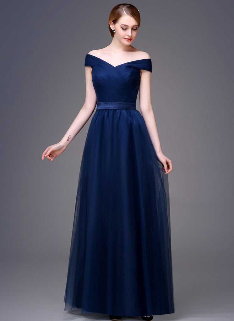 V Neck V Back Navy Evening Dress with Tulle Overlay