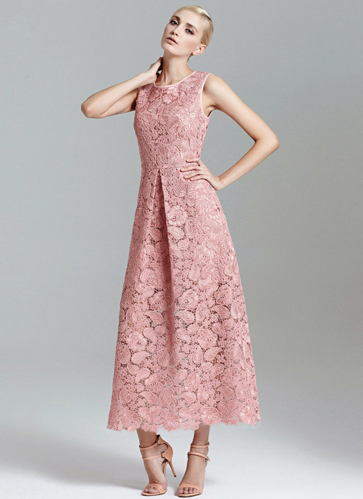 Nude Pink Lace Maxi Dress with Asymmetric Scalloped Hem