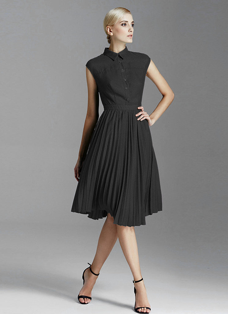 Black Shirt Top Mini Dress with Pleated Skirt