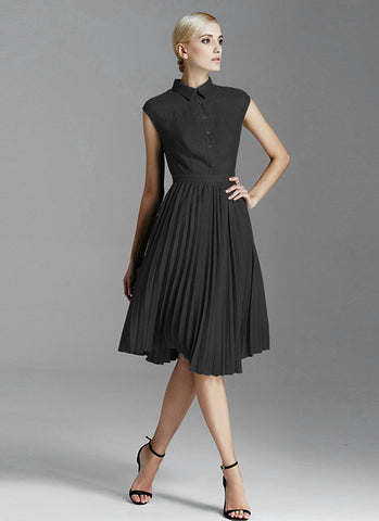 Black Shirt Top Mini Dress with Pleated Skirt RD502