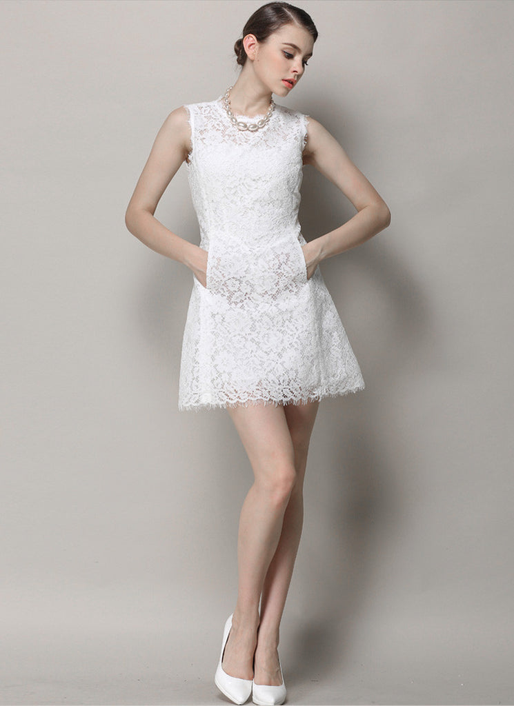 Sleeveless White Lace Mini Dress with Scalloped Hem and Angled Pockets