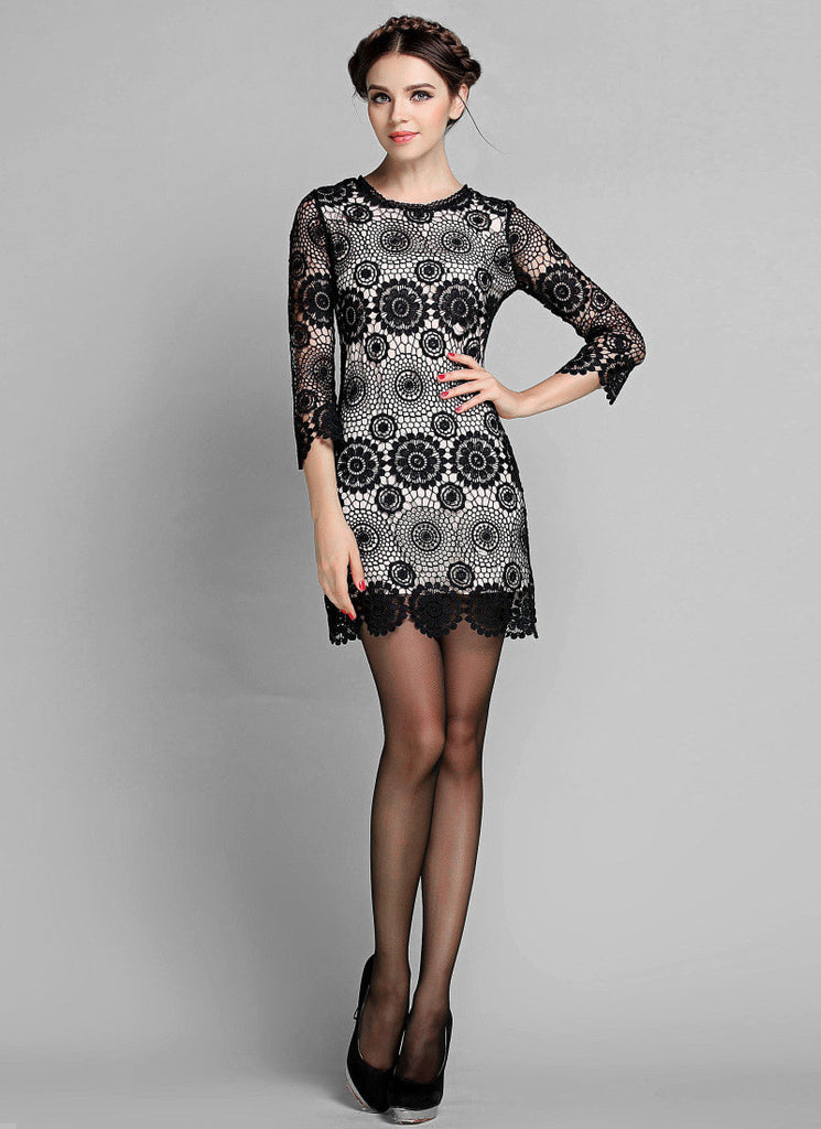 Black Lace Sheath Mini Dress with White Lining