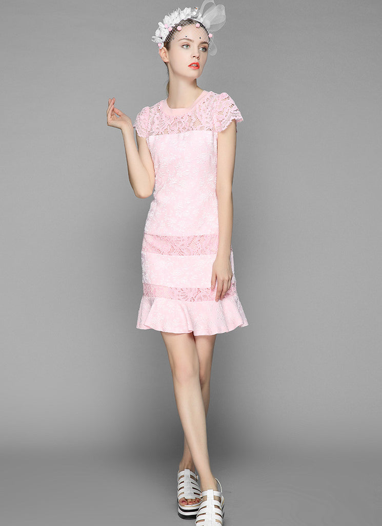 Pink Jacquard Lace Aline Mini Dress with Cap Sleeves