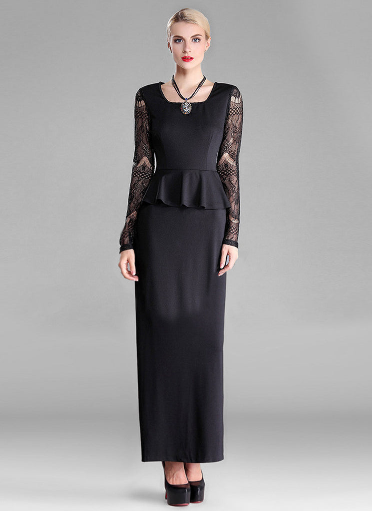 Black Peplum Maxi Dress with Long Lace Sleeves