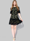 Black Lace Fit and Flare Mini Dress with Scallop and Eyelash Finishes