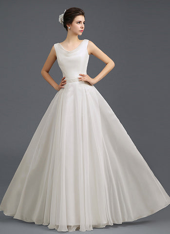 Ivory Evening Gown with Draped V Neck and Beaded Waist RM634
