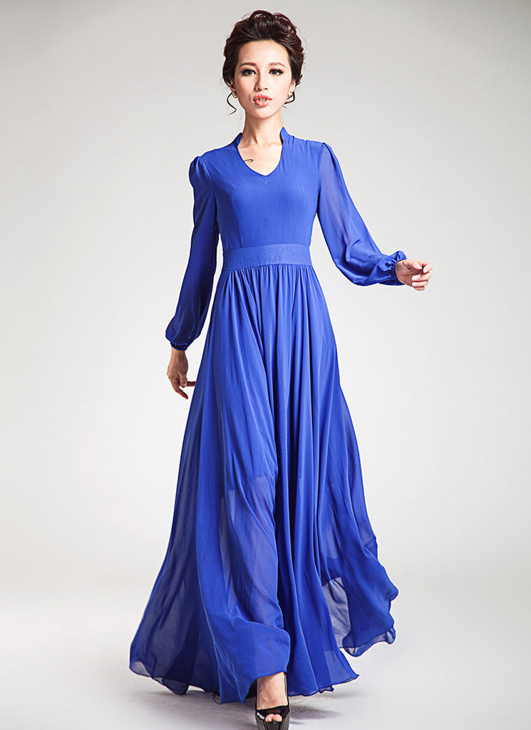 Long Sleeved Blue Chiffon Maxi Dress with V Neck and Stand Collar