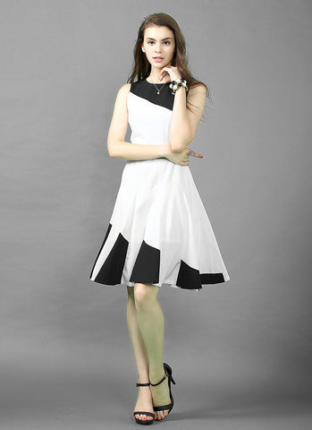 Black and White Fit and Flare Mini Dress RD570