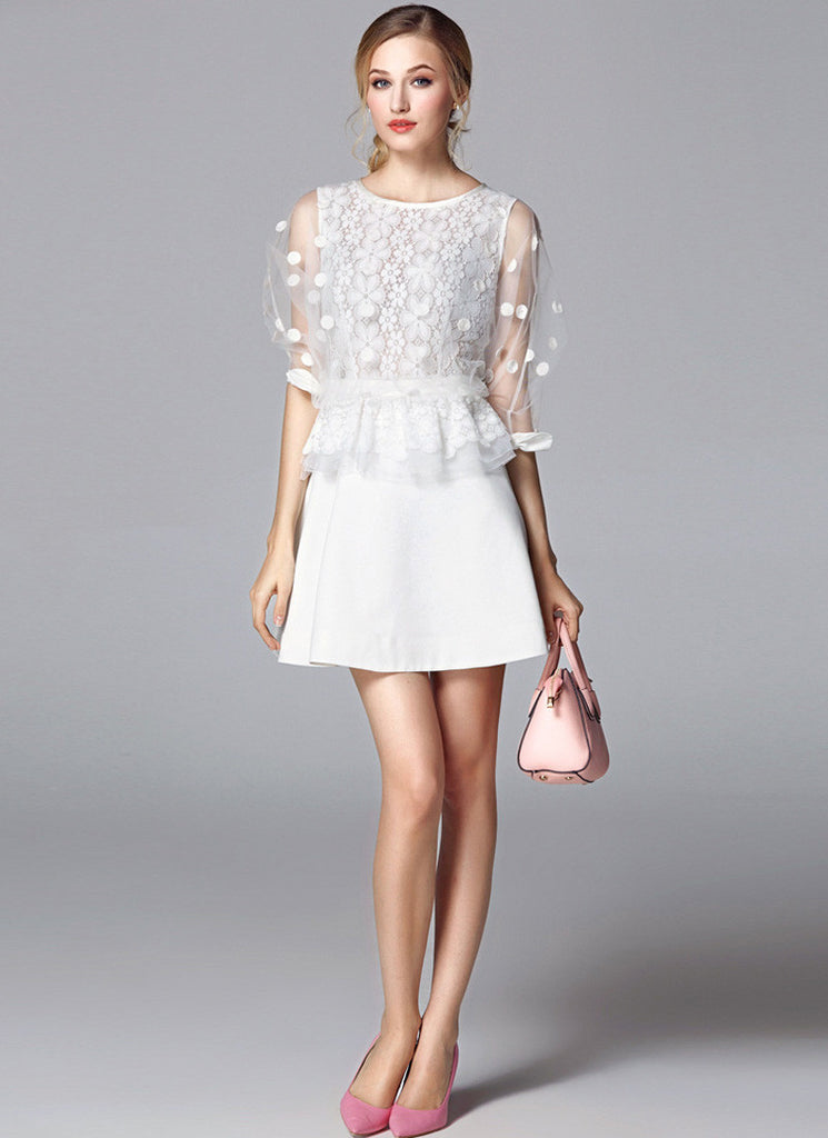 White Lace Satin Peplum Mini Dress with Tulle Sleeves