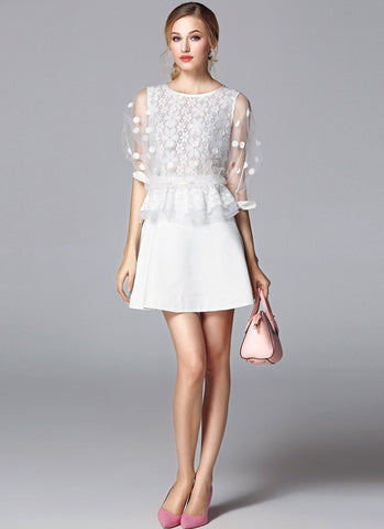 White Lace Satin Peplum Mini Dress with Tulle Sleeves RD639