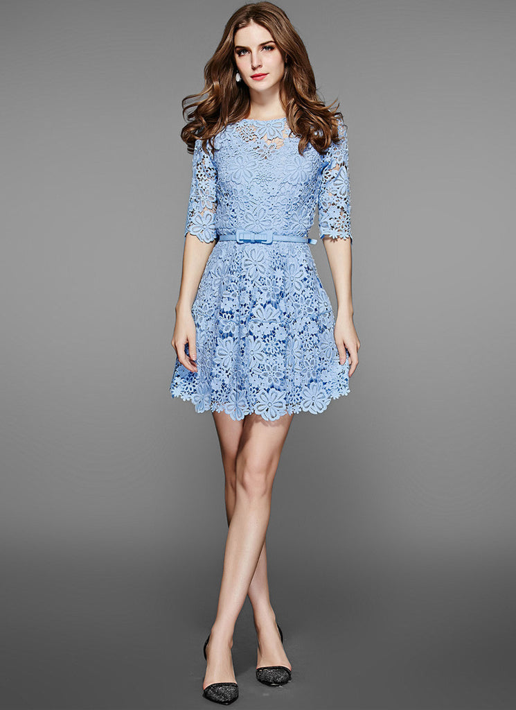Blue Lace Mini Fit and Flare Dress with Floral Scalloped Hem