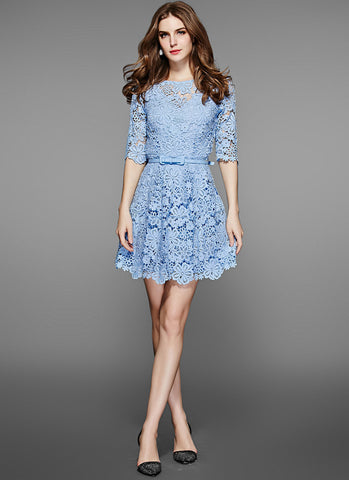 Blue Lace Mini Fit and Flare Dress with Floral Scalloped Hem RD534