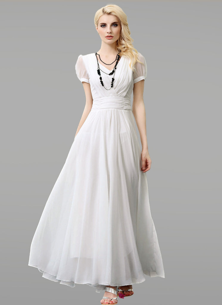 Short Sleeve White Chiffon Maxi Dress with V Neck and Ruched Waist Yoke