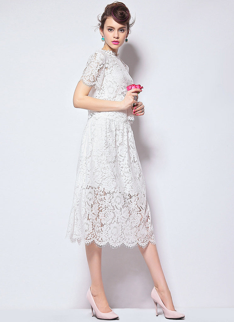 White Lace Peplum Tea Dress with Scallop and Eyelash Details
