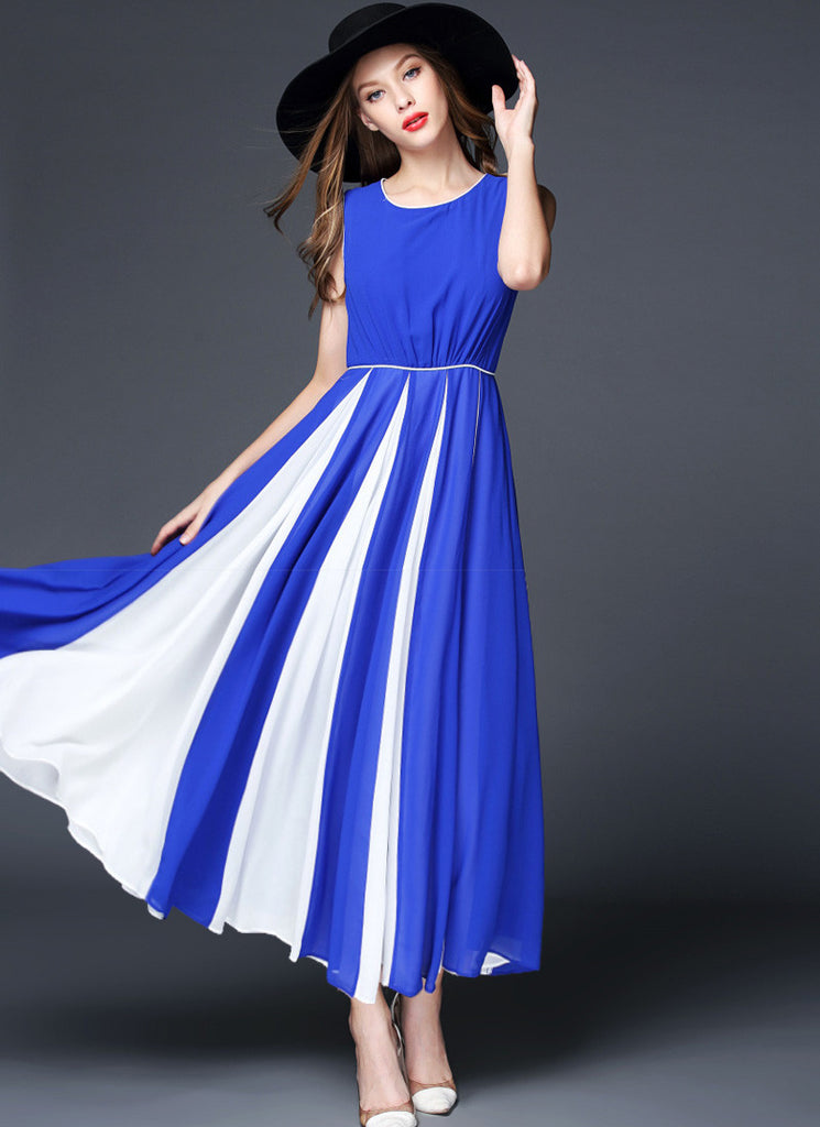 Sapphire Blue Chiffon Maxi Dress with Contrast White Fabric Insertion on Skirt