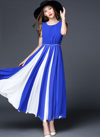 Sapphire Blue Chiffon Maxi Dress with Contrast White Fabric Insertion on Skirt RM570