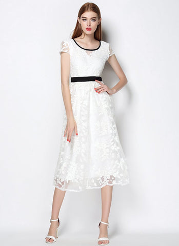 V Back White Organza Lace Midi Dress (Tea Dress) with Black Piping RM569