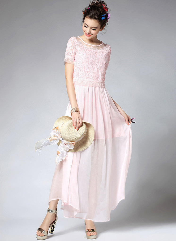 Light Pink Lace Chiffon Peplum Maxi Dress with Eyelash