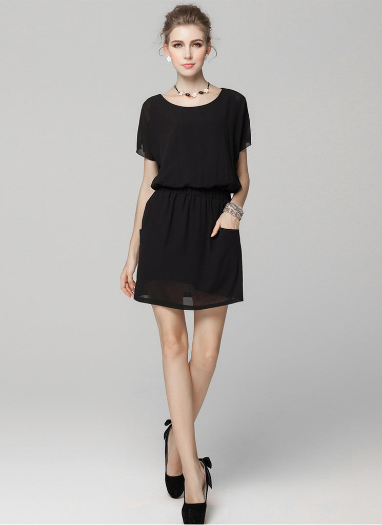 Black Chiffon Mini Dress with Elastic Waist and Patch Pockets