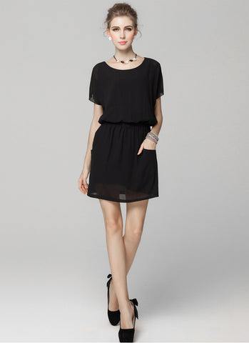 Black Chiffon Mini Dress with Elastic Waist and Patch Pockets RD601