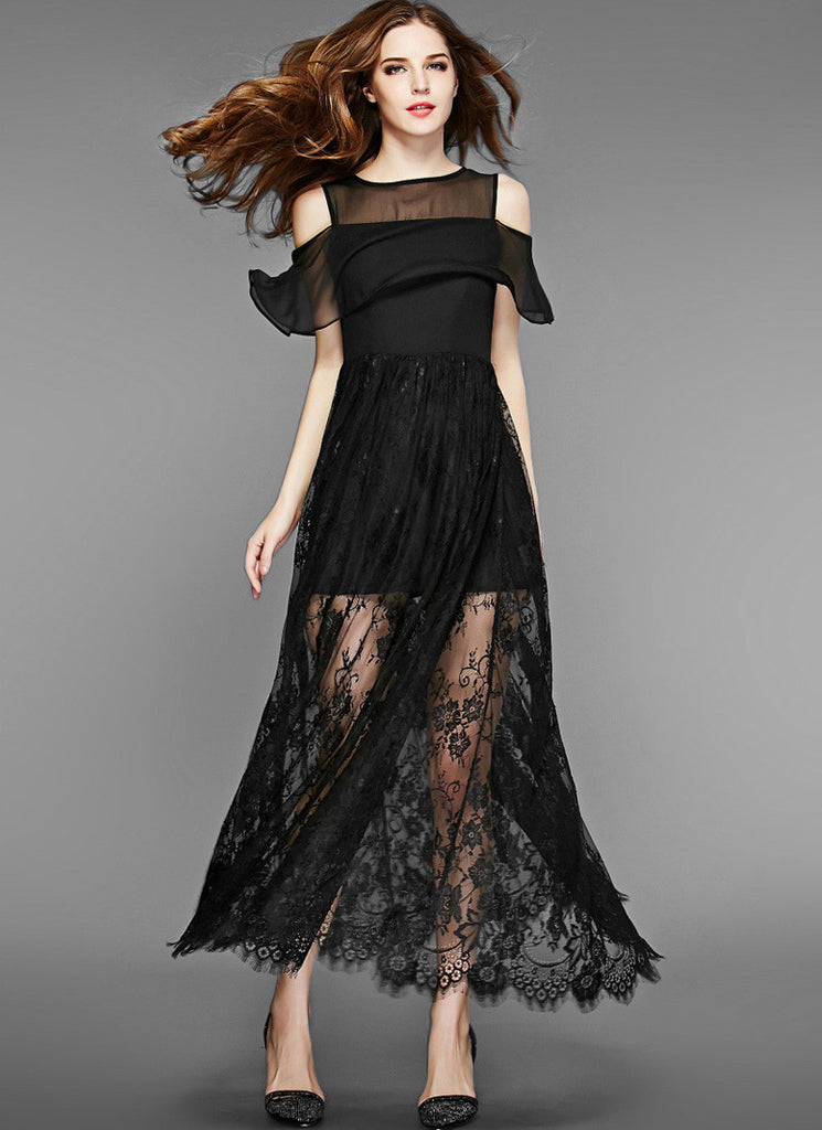 Off-Shoulder Black Lace Chiffon Maxi Dress with Scalloped Hem and Eyelash Finishes