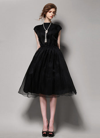 Sleeveless Black Organza Mini Mini Dress with Stand Collar RD612
