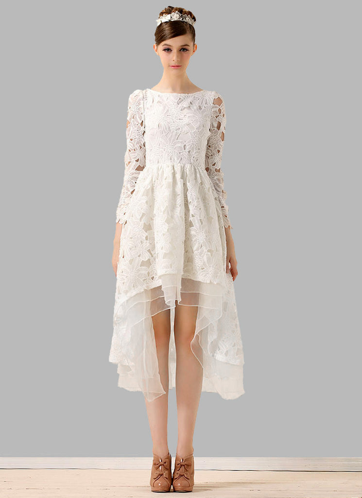 White Lace Mixi Dress with Layered Hi Lo Hem and Bow Embellishment