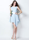Light Blue Asymmetric Mini Dress with White Waist