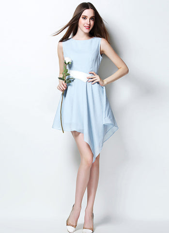 Light Blue Asymmetric Mini Dress with White Waist RD636