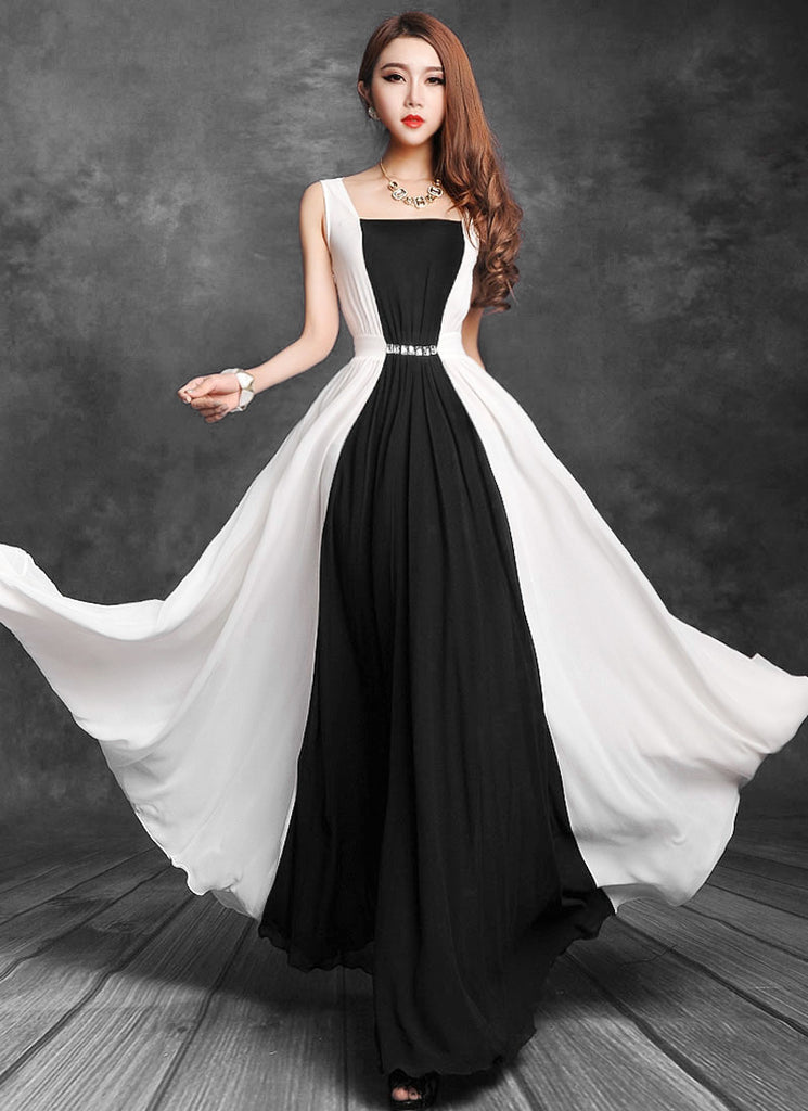 Black and White Maxi Dress with Cabochon Waist