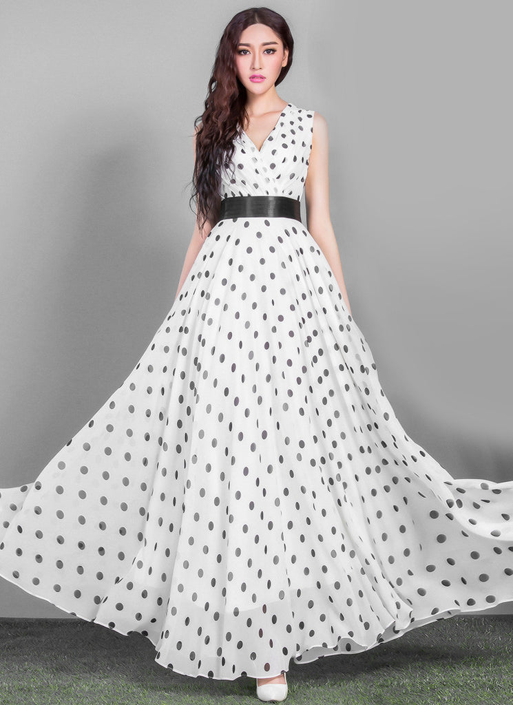 V Neck White Polka Dot Maxi Dress with Black Waist