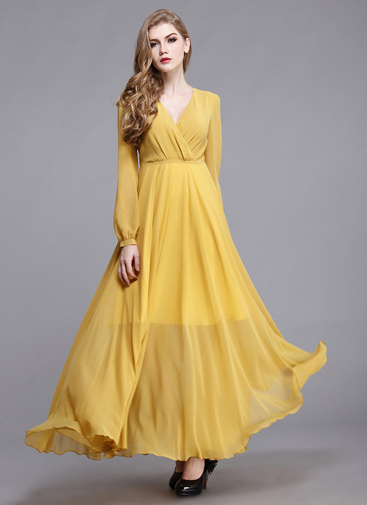 Long Sleeved Yellow Chiffon Maxi Dress with V Neck and Faux Surplice Bodice