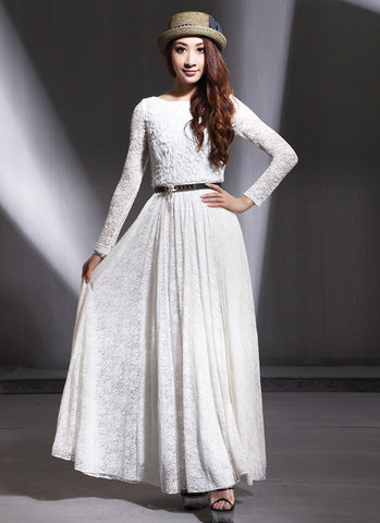 Long Sleeve White Lace Maxi Dress with Scoop Back and 3D Lace Top RM593