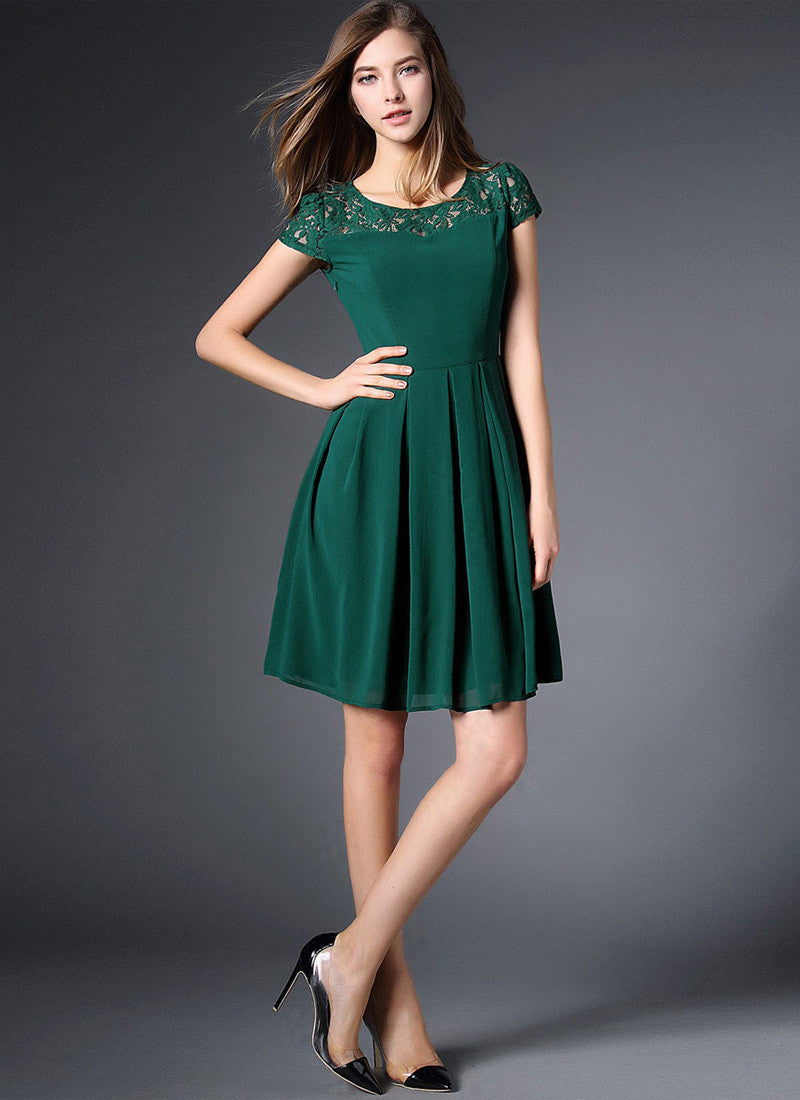 Dark Green Lace Chiffon Mini Fit And Flare Dress With Cap